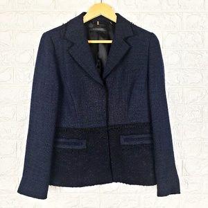 Elie Tahari Navy & Black Tweed Lace Blazer Size M